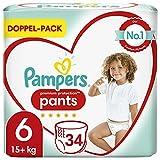 Pampers Baby Windeln Pants Größe 6 (15kg+) Premium Protection, 34 Höschenwindeln, Komfort und Schutz Für einfaches Anziehen