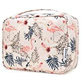 Reise Kulturtasche Zum Aufhängen Kulturbeutel Kosmetiktasche Waschtasche für Kinder Frauen Mädchen Damen (Beiger Flamingo)