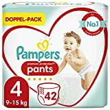 Pampers Baby Windeln Pants Größe 4 (9-15kg) Premium Protection, 42 Höschenwindeln, Komfort und Schutz Für einfaches Anziehen