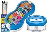 Pelikan Deckfarbkasten 735 SP/12 mit 12 Farben und 1 Tube Deckweiß/Starter (blau mit Space-Wasserbecher + Pinsel-Set)