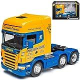 Cararama Scania R-Serie Topline 3 Achser LKW Zugfahrzeug Gelb Blau 1/50 Modell Auto