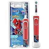 Oral-B Kids Spiderman Elektrische Zahnbürste/Electric Toothbrush für Kinder ab 3 Jahren, 2 Putzmodi für Zahnpflege, extra weiche Borsten, 4 Sticker, rot (Design kann variieren)