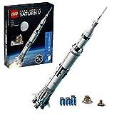 LEGO 92176 Ideas NASA Apollo Saturn V Weltraumrakete und Fahrzeuge, Raumschiff Bauset für Sammler, mit Displayständer
