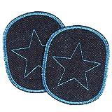 Hosenflicken 10 x 8cm Bio Jeans mit Stern blau auf dunkelblau 2 Knieflicken Aufbügler für Kinder zum aufbügeln