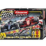 Carrera 20062482 GO!!! Speed Grip Rennstrecken-Set   5,3m Rennbahn mit Vettels Ferrari SF71H&Hamiltons Mercedes-AMG F1 W09 EQ Power+   mit 2 Handreglern&Streckenteilen   Kinder ab 6 Jahren&Erwachsene