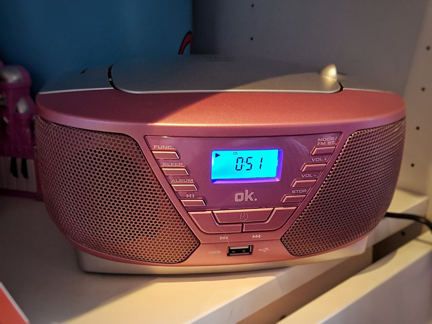 OK. ORC311 - Tragbarer Radiorecorder, Rosa