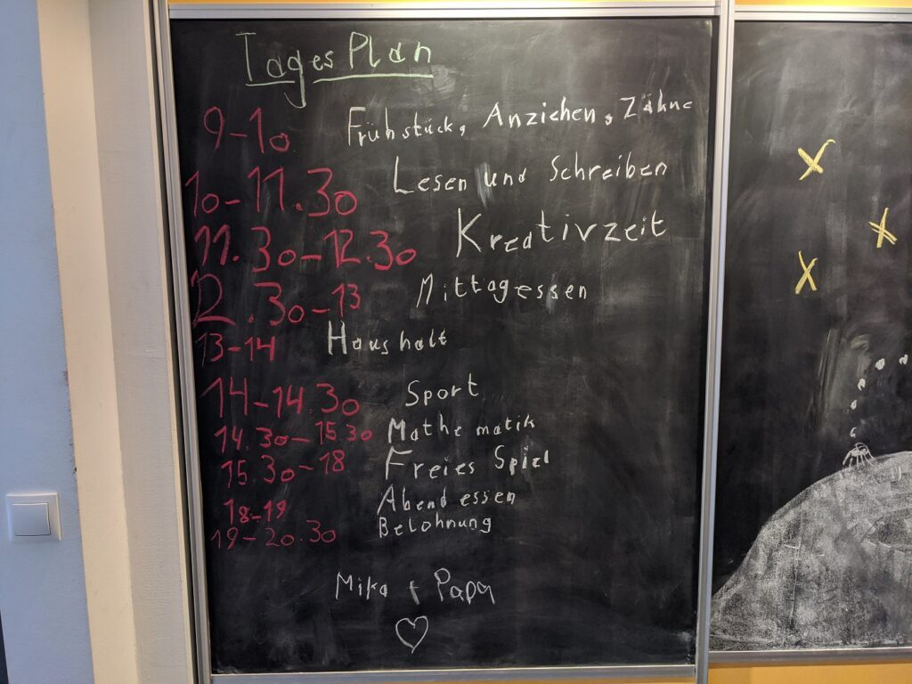 Tagesplan beim Homeschooling