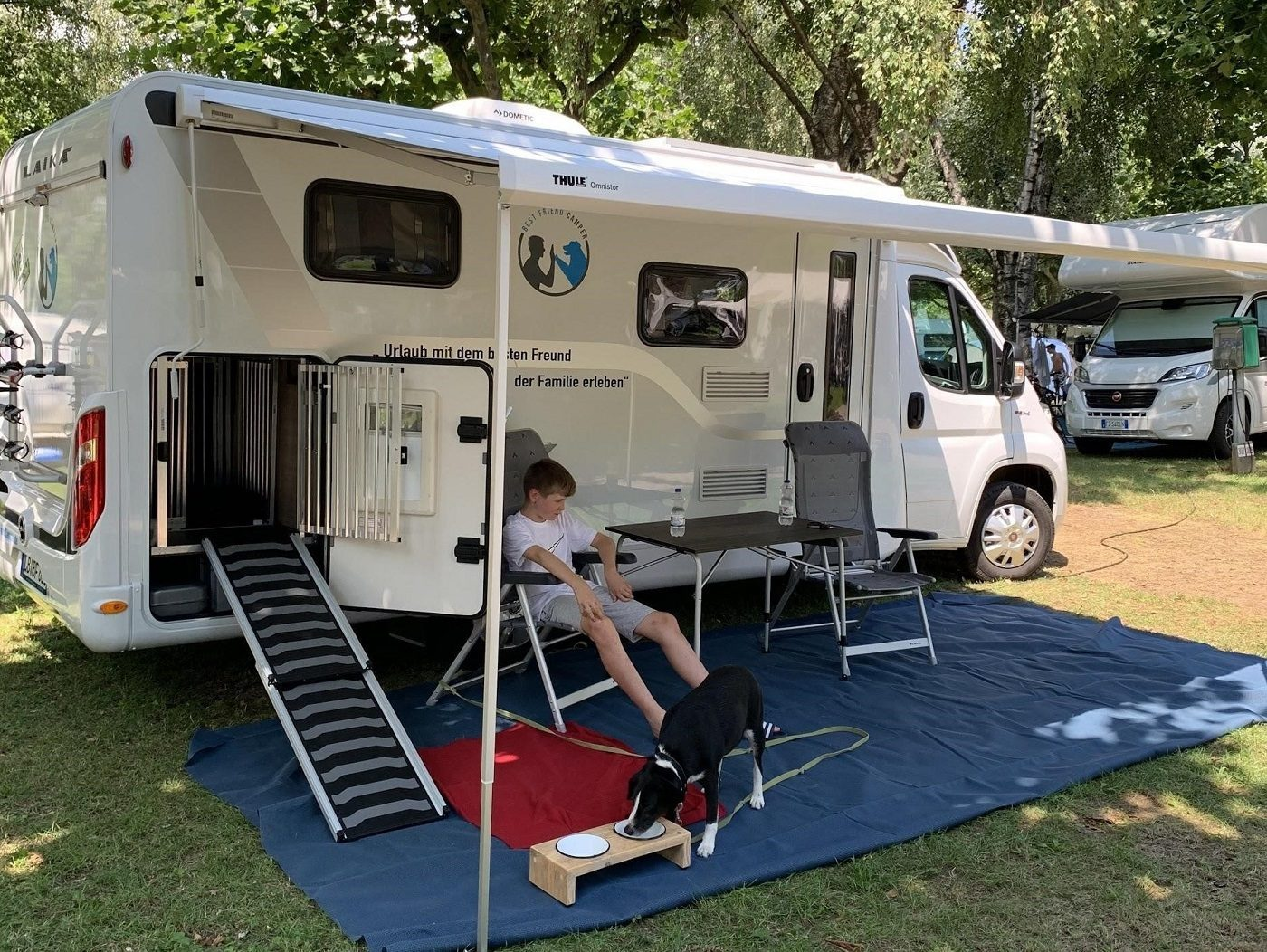 vater sohn hund camper
