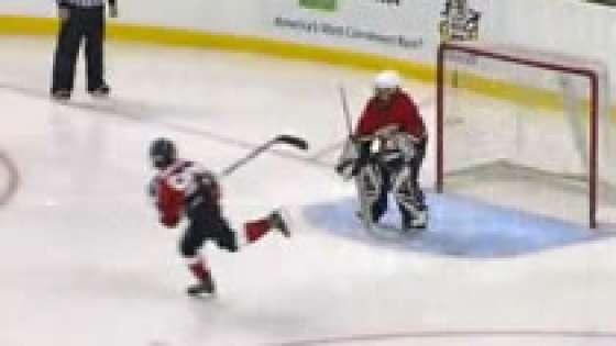 9 year old pulls off trick hockey