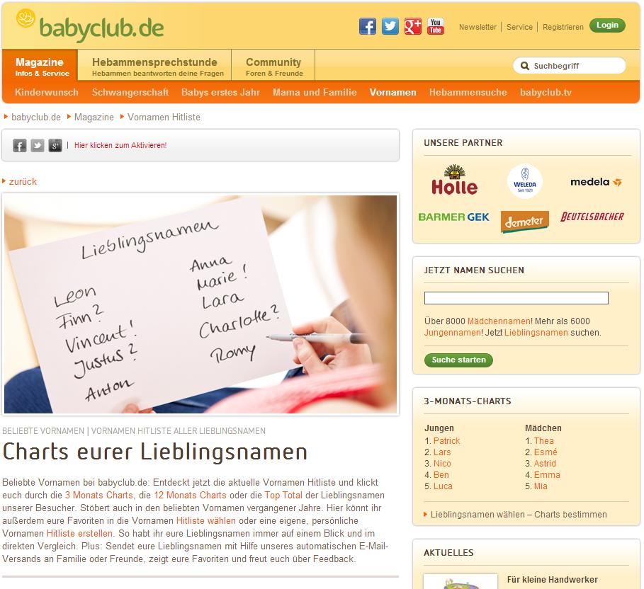 Babyvornamen beim Babyclub
