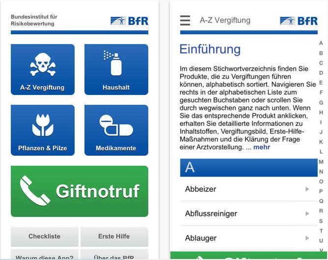 BfR App Vergiftsungsunfälle
