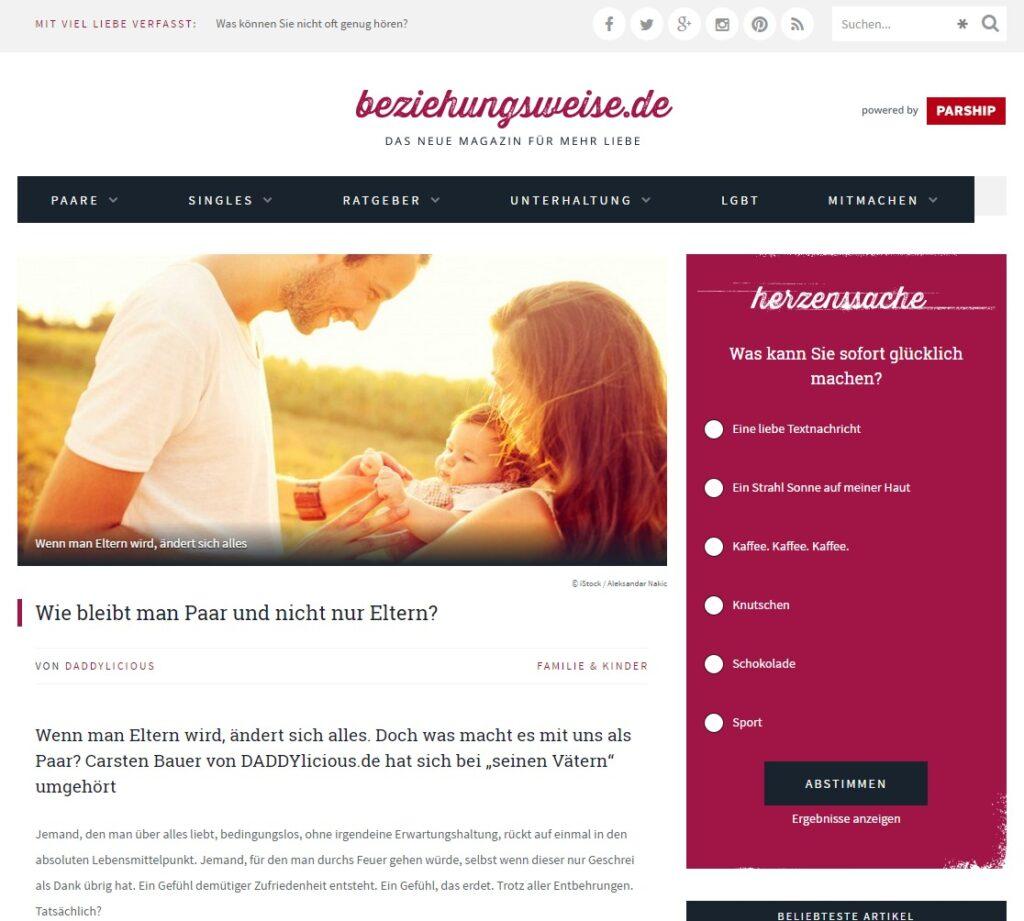 Wie bleibt man Paar und nicht nur Eltern beziehungsweise.de