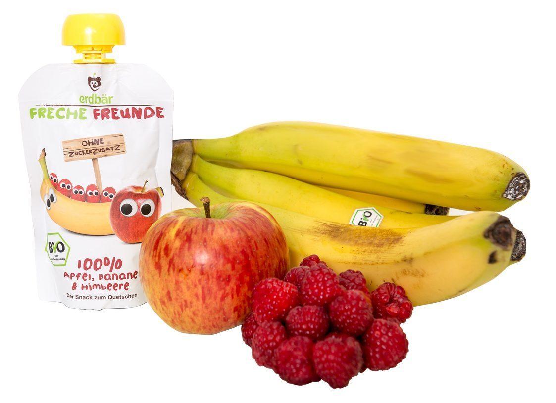 freche freunde banane himbeere mit frucht
